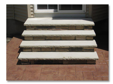Cobblestone Stamped Concrete Stairs